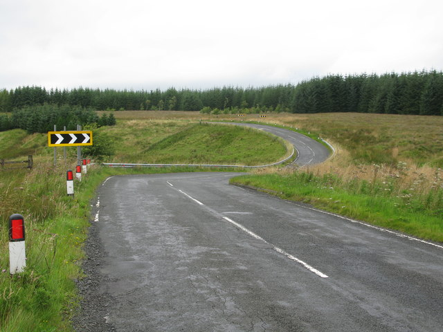 Double Bend on the B743, east of Sorn