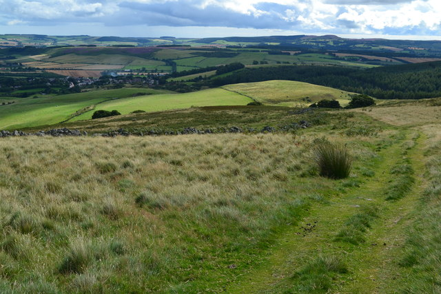 Path on Coldberry Hill, with distant view over Wooler