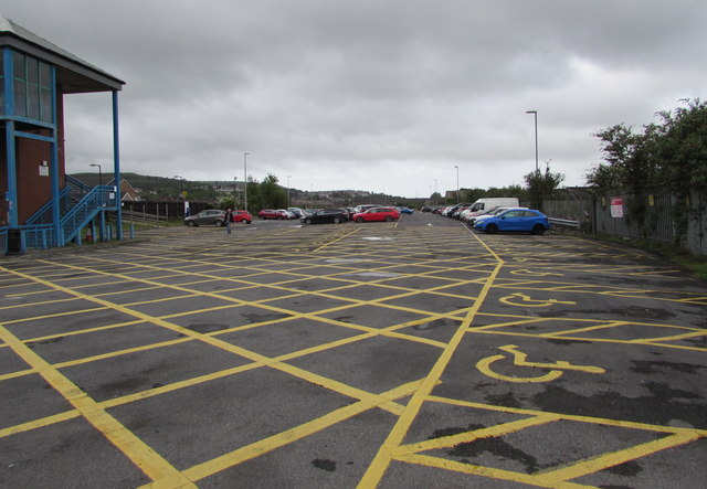 Yellow marked area at the northern end of Milland Road Car Park, Neath