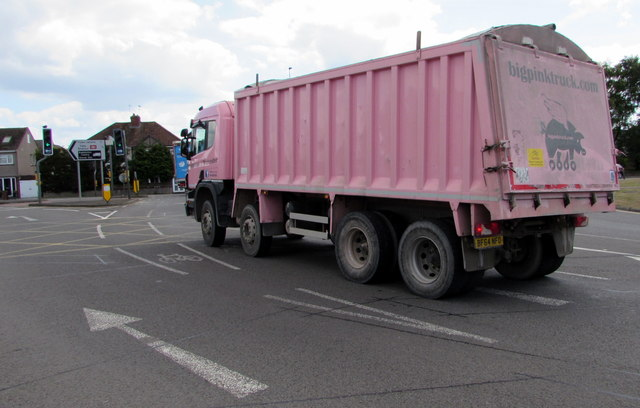 Pink lorry in Yate