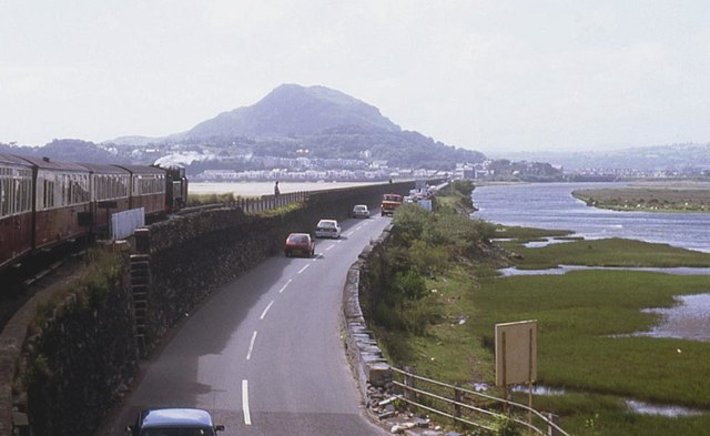 Crossing the Afon Glaslyn estuary by road, rail and footpath