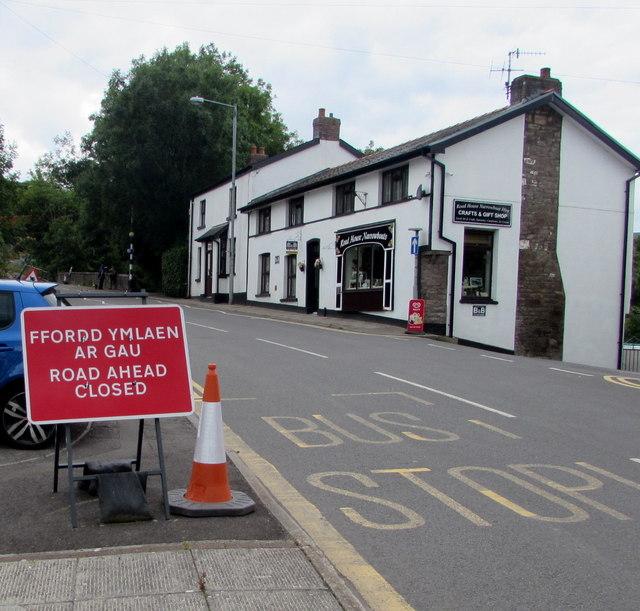 Road ahead closed, Main Road, Gilwern