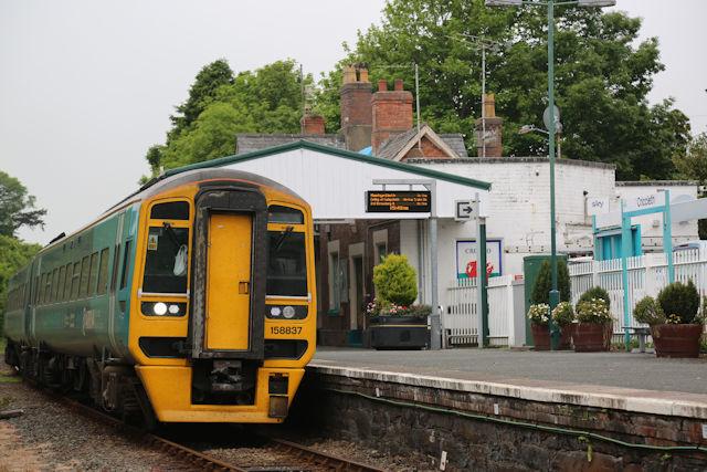 Class 158 train at Criccieth station