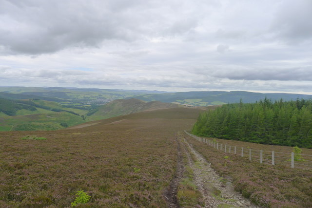 An overcast afternoon leaving Kirkhope Law for Peebles