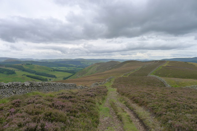 The Cross Borders Drove Road on the ridge above Glensax Burn