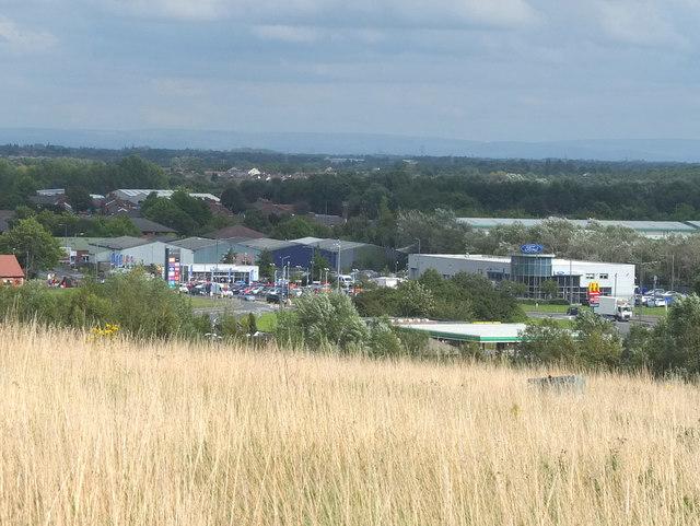 Ravenhead Retail Park from Ravenhead Nature Park