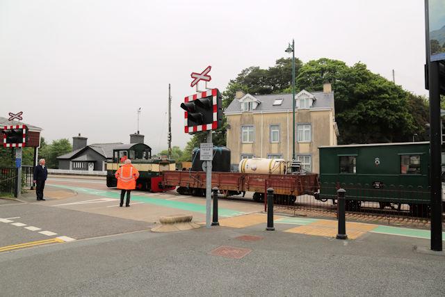 Works train heading for Britannia Bridge