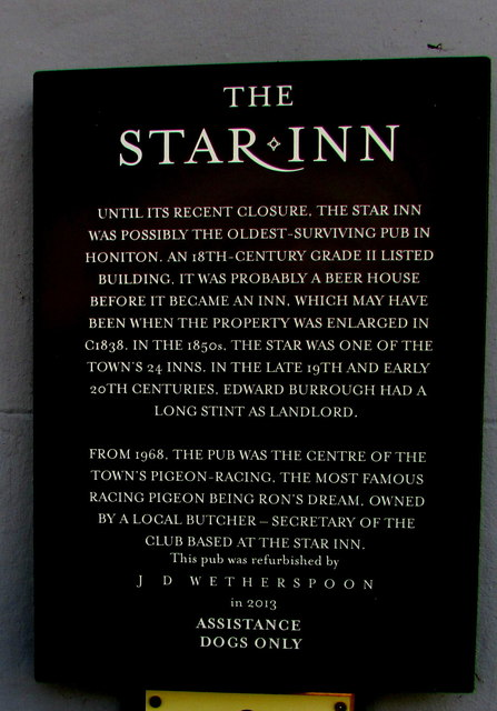 Potted history of the Star Inn, Honiton