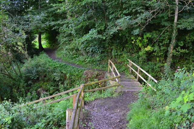 Footbridge carrying path over side stream