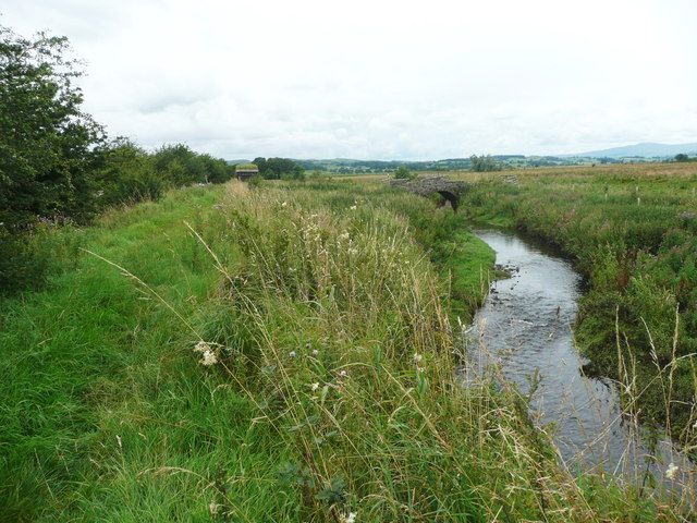 The Ribble Way and Wigglesworth Beck and a bridge
