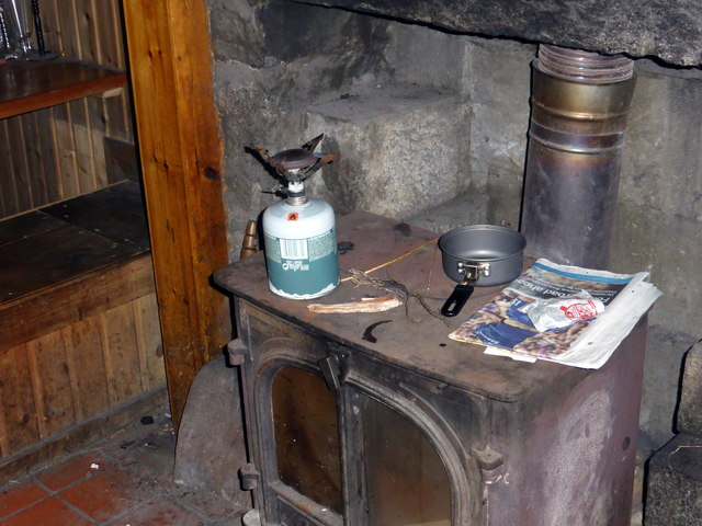 The stove in Culra bothy