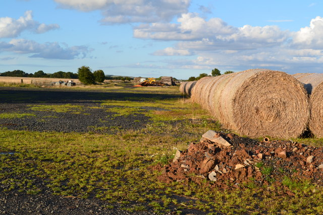 Straw bales and runway at former Winfield Airfield