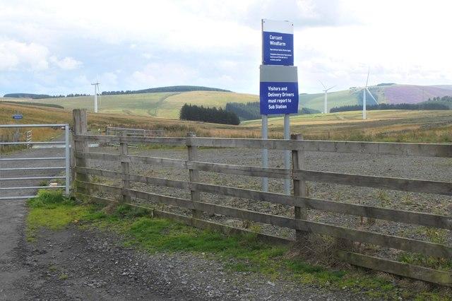 Entrance to Carcant windfarm