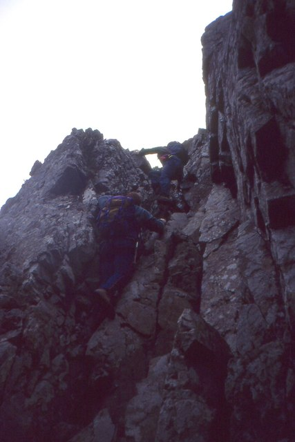Leaving a gully, Tower Ridge