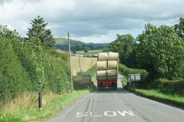 A load of bales heading towards Chirbury