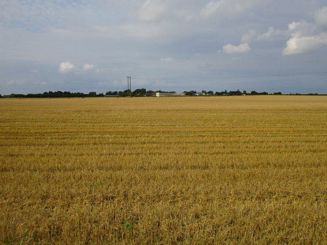 Harvested wheat field and Forkerleys Farm