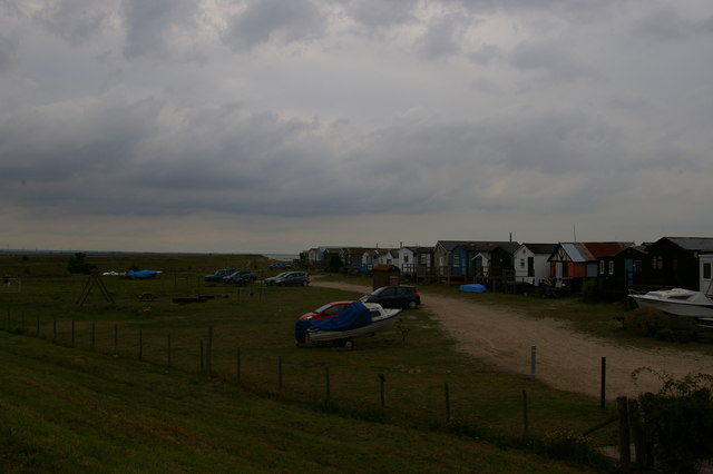 Huts overlooking Whitstable Bay, from the sea wall