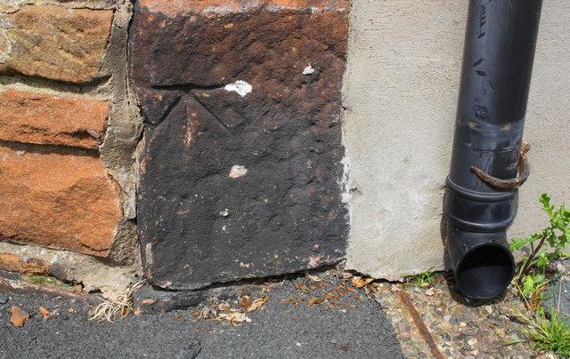Benchmark on house at Brent Road/Fell Lane junction