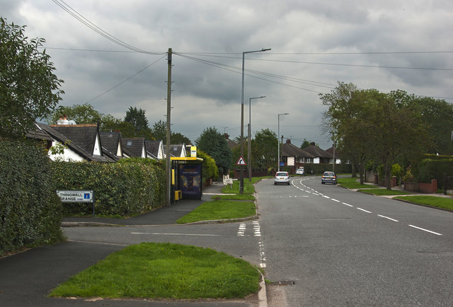 A bus stop on Barnston Road