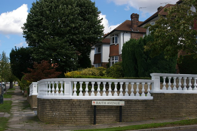Suburban houses at the junction of Raith Avenue and Arnos Grove, N11