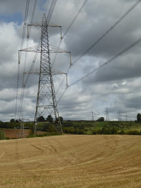 Electricity pylons, Cassey Compton