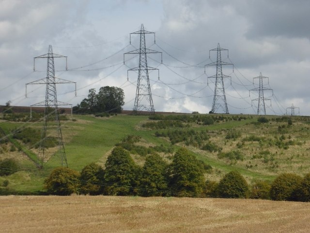 Electricity pylons above Cassey Compton
