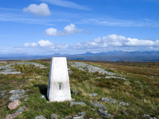 Trig point at summit area of Cnoc Breac