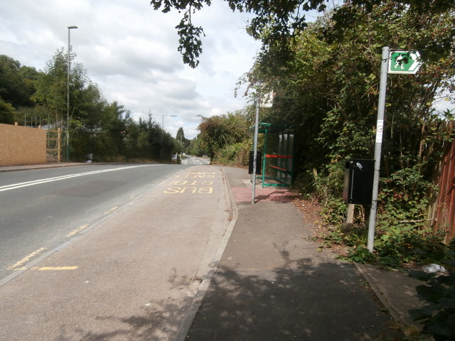Bus stop and footpath sign, Llanbradach