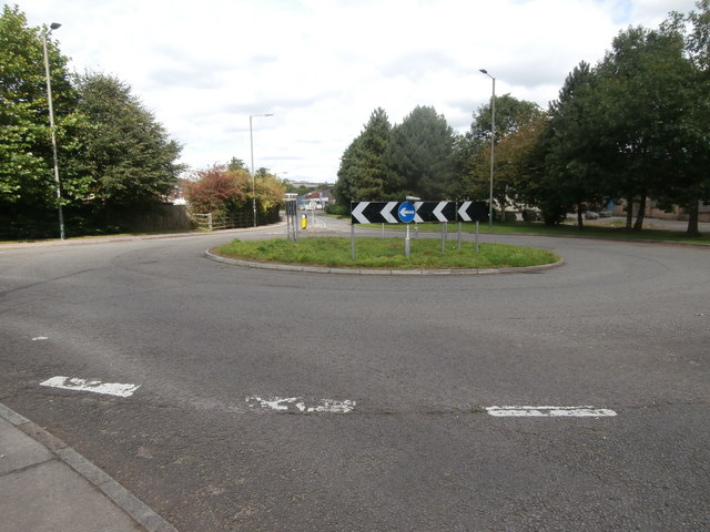 Roundabout at the entrance to the Forge Mill Estate, Ystrad Mynach