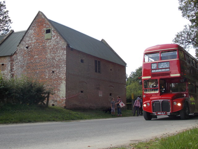 Imber: the 23a bus passes the old Bell Inn