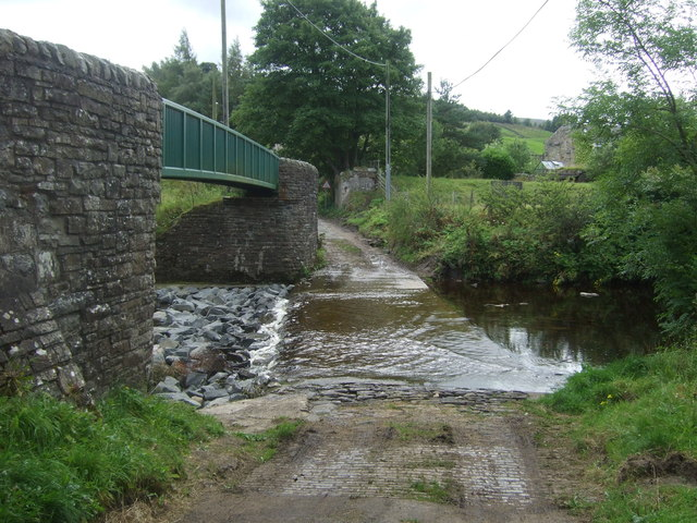 Ford and foot bridge over the River Wear, Westgate
