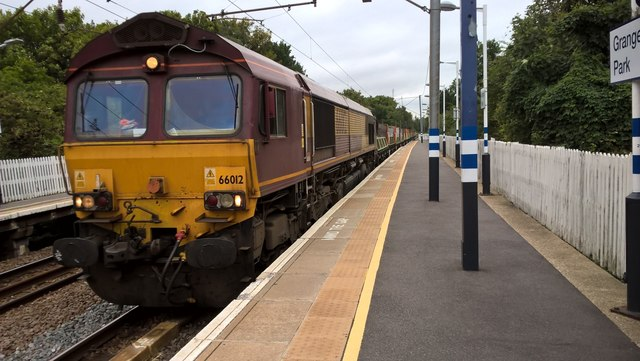 EWS freight train at Grange Park station