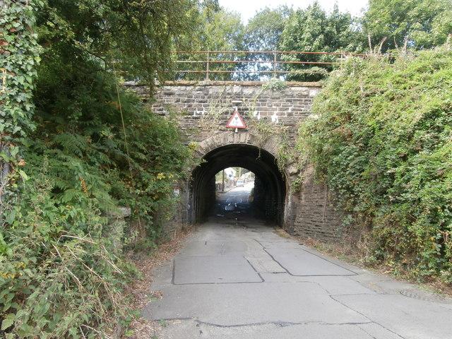 Railway bridge over the road, Beech Embankment, Ystrad Mynach