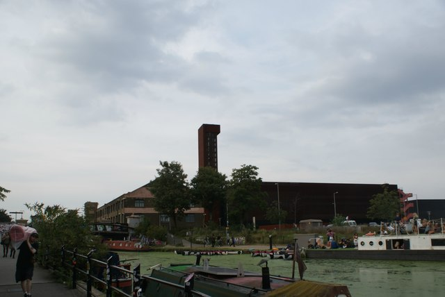 View of the Olympic Park Energy Centre from the River Lea towpath