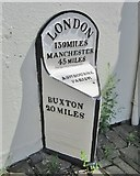 SK1846 : Old Milepost by the A515, Market Place, Ashbourne by Milestone Society
