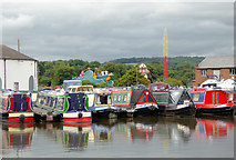 SO8171 : Moored narrowboats in Stourport Upper Basin in Worcestershire by Roger  Kidd