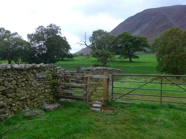 Stile on the path to Lanthwaite Green farm