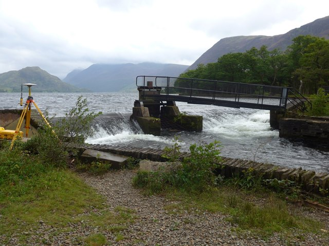Weir as the River Cocker leaves Crummock Water