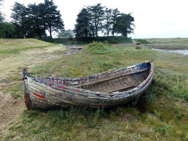 Old boat on the edge of the salt marsh - Burnham Deepdale