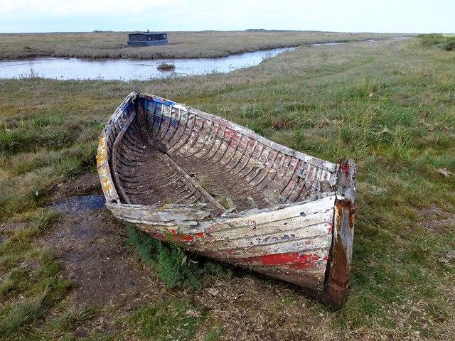 Boat on the edge of the salt marsh - Burnham Deepdale