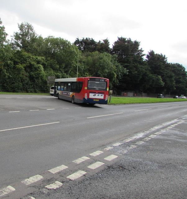 Stagecoach bus on the A4119, Mwyndy