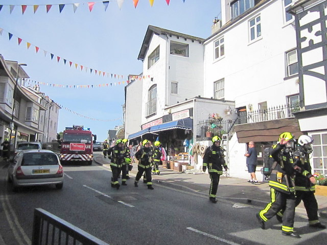 Middle Street Brixham Firefighters on Charity Walk