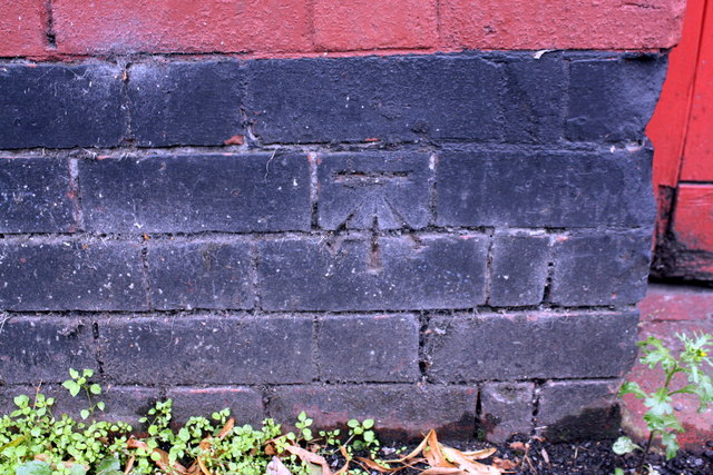 Benchmark on garage, Albert Road