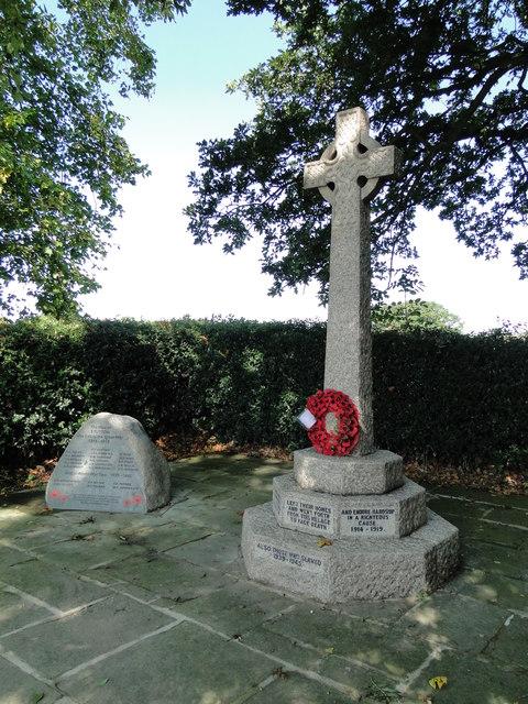 Stutton War Memorial beside Manningtree Road.