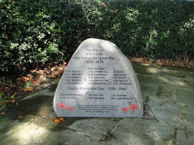 Addendum to Stutton War Memorial