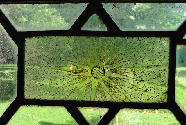 Mediaeval stained/painted glass at Thrandeston church