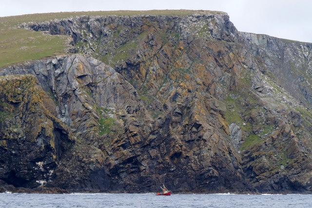Small creel boat off Clibberswick