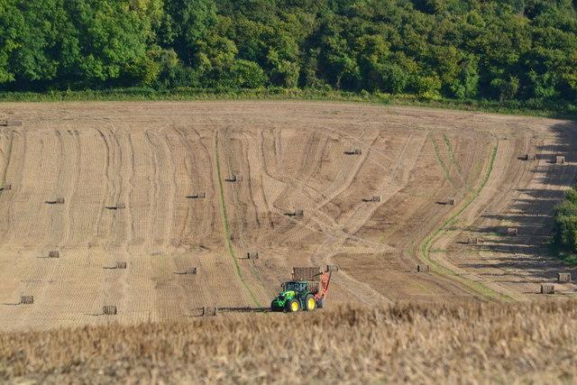 Tractor in field near Deacon Hill