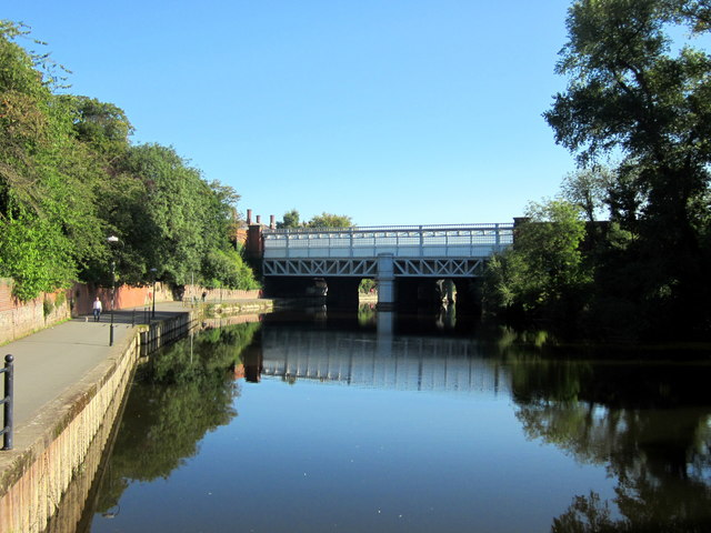 Shrewsbury River Severn Looking Towards Railway Bridge