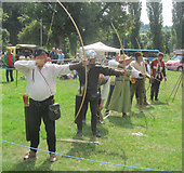 TL0506 : Taking Aim at the Medieval Re-enactment on Blackbirds Moor by Chris Reynolds
